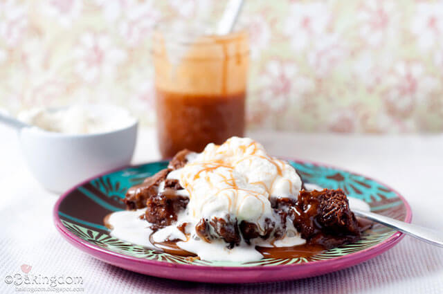 Chocolate Pudding with Whipped Cream and Caramel Sauce